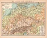 Deutschland Physikalische Karte Lithographie 1899...