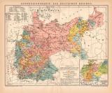 Konfessionen Deutsches Reich Karte Lithographie 1899...