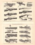 Handfeuerwaffen IV. + I. Holzstich 1899 Original der Zeit
