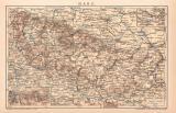 Harz Karte Lithographie 1899 Original der Zeit