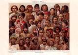 Asiatische Völker Chromolithographie 1885 Original...