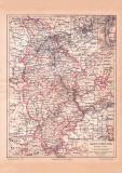 Rheinprovinz Karte Lithographie 1889 Original der Zeit