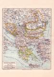Balkan Halbinsel Karte Lithographie 1889 Original der Zeit