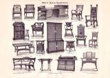 Möbel II. Moderne Kunsttischlerei Holzstich 1899...