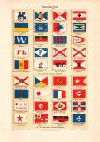 Hausflaggen historischer Druck Chromolithographie ca. 1904