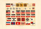 Deutsche Flaggen Chromolithographie 1903 Original der Zeit