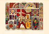 Glasmalerei historischer Druck Chromolithographie ca. 1904