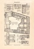 Bankgebäude Holzstich 1902 Original der Zeit