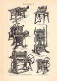 Buchbinderei I. - II. historischer Druck Holzstich ca. 1903