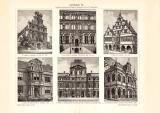 Architektur XI. historischer Druck Holzstich ca. 1902