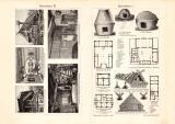 Bauernhaus I. - II. historischer Druck Holzstich ca. 1902