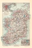 Irland historische Landkarte Lithographie ca. 1905