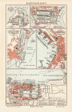 Hafenanlagen historische Landkarte Lithographie ca. 1904