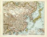China Japan historische Landkarte Lithographie ca. 1903
