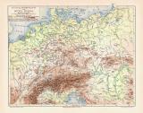 Mitteleuropa Flüsse Gebirge historische Landkarte...