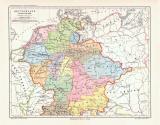Deutschland um das Jahr 1.000 historische Landkarte...