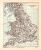 England Wales historische Landkarte Lithographie ca. 1903