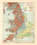 England Wales Geologie historische Landkarte Lithographie...