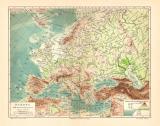 Europa Flüsse Gebirge historische Landkarte...