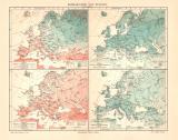 Europa Klima historische Landkarte Lithographie ca. 1904