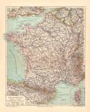 Frankreich historische Landkarte Lithographie ca. 1904