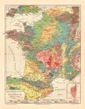 Frankreich Geologie historische Landkarte Lithographie...
