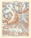 Gletscher I. historische Landkarte Lithographie ca. 1905