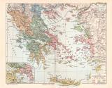 Alt Griechenland historische Landkarte Lithographie ca. 1904