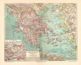 Griechenland historische Landkarte Lithographie ca. 1904