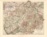Provinz Hessen-Kassel historische Landkarte Lithographie...