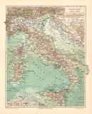 Italien historische Landkarte Lithographie ca. 1905