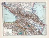Kaukasien Karte Lithographie 1905 Original der Zeit