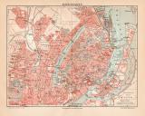 Kopenhagen historischer Stadtplan Karte Lithographie ca....