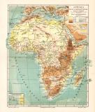 Afrika Flüsse & Gebirge historische Landkarte...