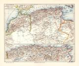 Algerien Marokko Tunesien historische Landkarte...