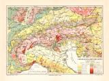 Alpen Geologie historische Landkarte Lithographie ca. 1902