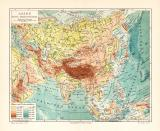 Asien Flüße und Gerbirge historische Landkarte...