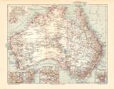 Australien Karte Lithographie 1902 Original der Zeit