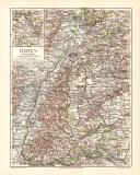 Baden Karte Lithographie 1902 Original der Zeit