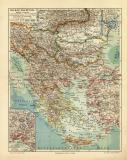 Balkan Halbinsel historische Landkarte Lithographie ca. 1902