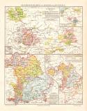 Geschichtskarte Bayern Kurpfalz Karte Lithographie 1902...