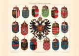 Österreich Ungarische Wappen historischer Druck...