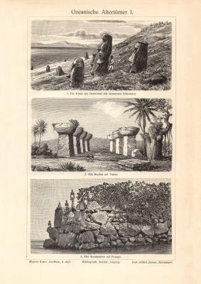 Ozeanische Altertümer I. - II. historischer Druck Holzstich ca. 1906