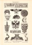 Tierornamente I. - II. historischer Druck Holzstich ca. 1908