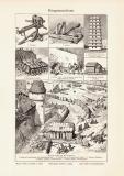 Kriegsmaschinen historischer Druck Holzstich ca. 1905