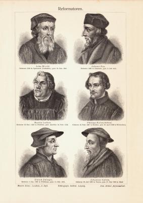 Reformatoren historischer Druck Holzstich ca. 1907