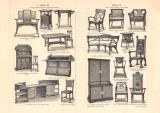 Möbel I. - III. historischer Druck Holzstich ca. 1906