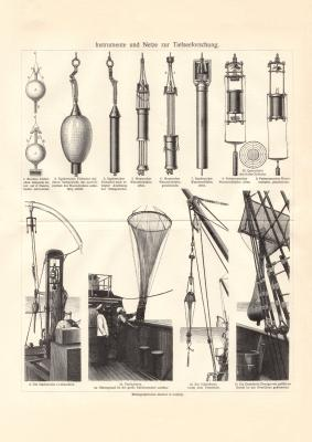 Tiefseeforschung historischer Druck Holzstich ca. 1908