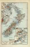 Neuseeland Christchurch Dunedin Wellington Auckland Karte...