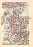 Schottland historische Landkarte Lithographie ca. 1907